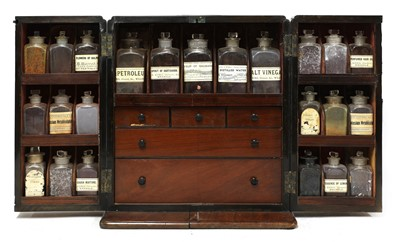 Lot 59 - A mahogany cased travelling apothecary cabinet