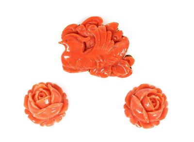 Lot 35 - An Asian carved coral plaque brooch