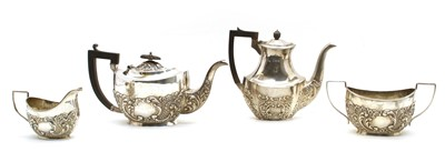 Lot 19-An Edward VII silver four piece tea set