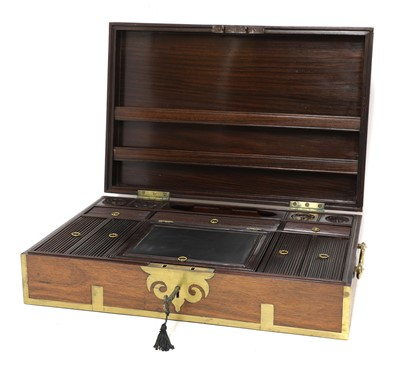 Lot 52 - A large Indian padouk and brass-mounted writing box