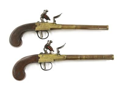 Lot 743 - A pair of double-barrel box-lock flintlock pistols