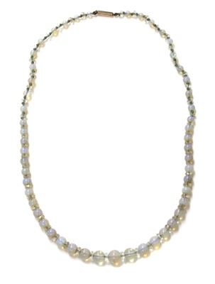 Lot 102 - A single row graduated opal and glass bead necklace