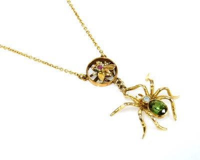 Lot 99 - An Edwardian gold spider and fly necklace