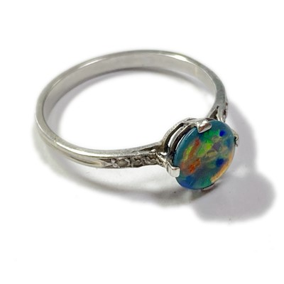 Lot 18-A black opal and diamond ring