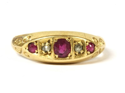 Lot 1 - An 18ct gold five stone ruby and diamond ring