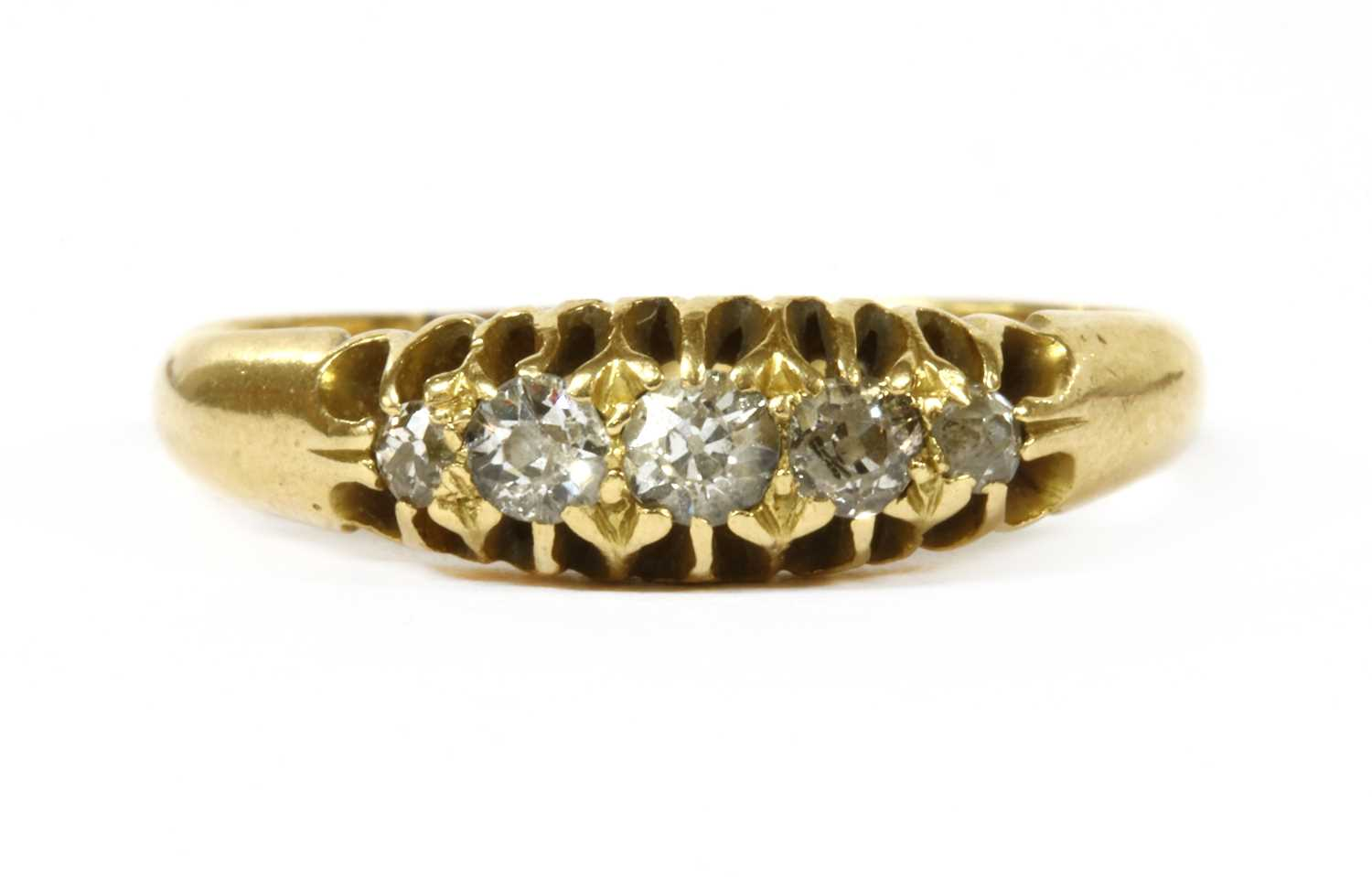 Lot 2-An 18ct gold five stone diamond ring