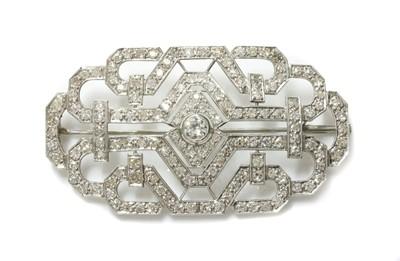 Lot 133 - An Art Deco diamond set plaque brooch, c.1930