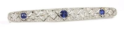 Lot 31 - An Art Deco sapphire and diamond plaque brooch, c.1920