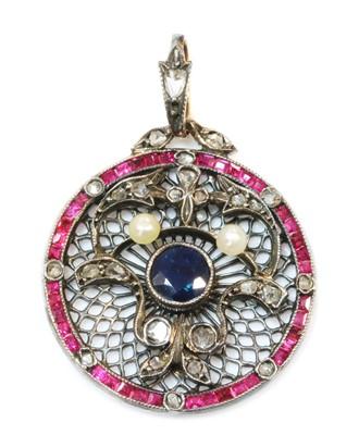 Lot 158 - An Edwardian sapphire, ruby, diamond and pearl pendant, c.1910