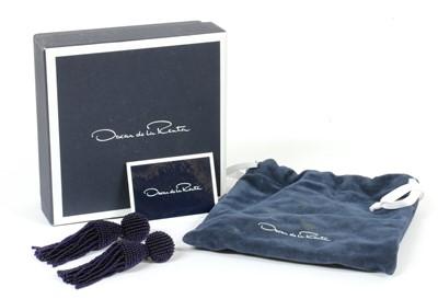 Lot 86 - A pair of beaded tassel drop earrings with clip fittings, by Oscar de la Renta