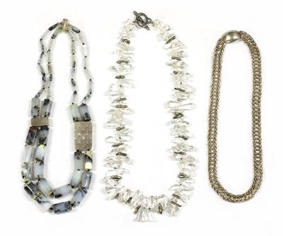 Lot 80 - A contemporary silver two row graduated dendritic agate necklace