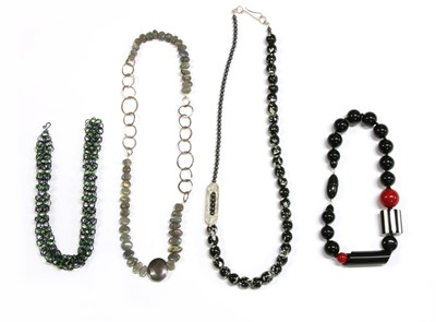 Lot 73 - A collection of contemporary silver and costume necklaces