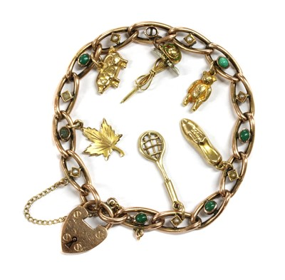 Lot 3 - A late Victorian gold turquoise and split pearl curb bracelet