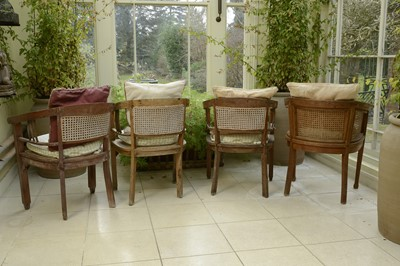Lot 2 - Four similar teak conservatory chairs