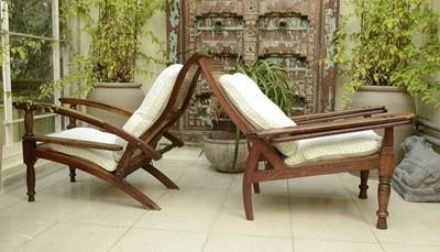 Lot 6 - Two similar teak planter's chairs