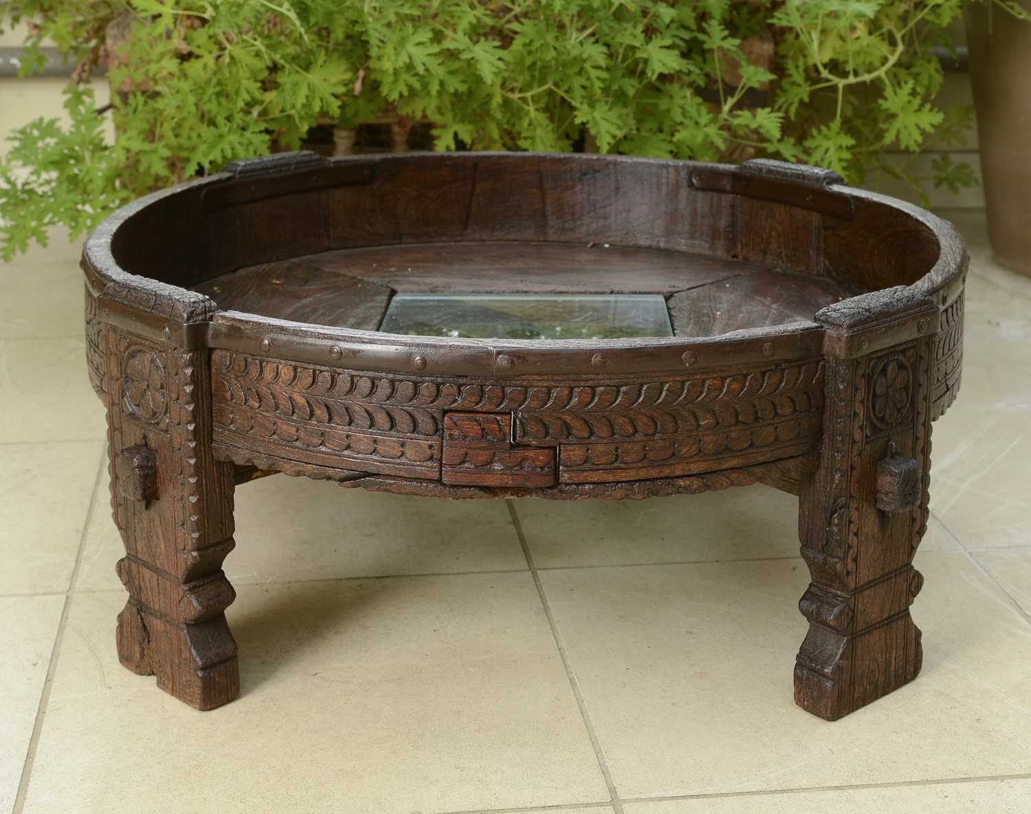 Lot 8 - A rustic hardwood low coffee table