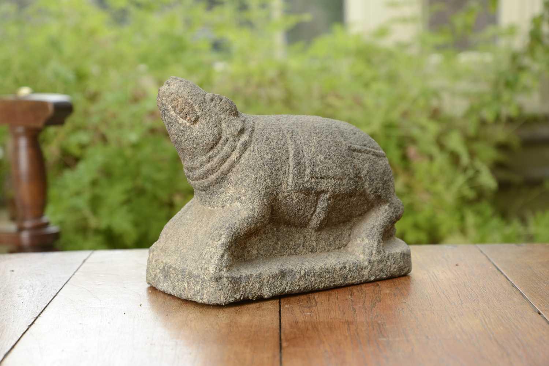 Lot 12 - An Indian granite carving of the Mushika or vahana of Ganesha