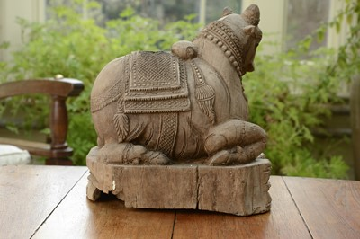 Lot 14 - A carved teak figure of the Nandi Bull