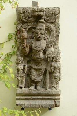 Lot 10 - A hardwood carved panel of Vishnu