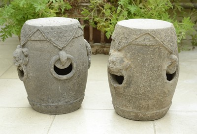 Lot 18 - A pair of archaistic Chinese-style garden seats
