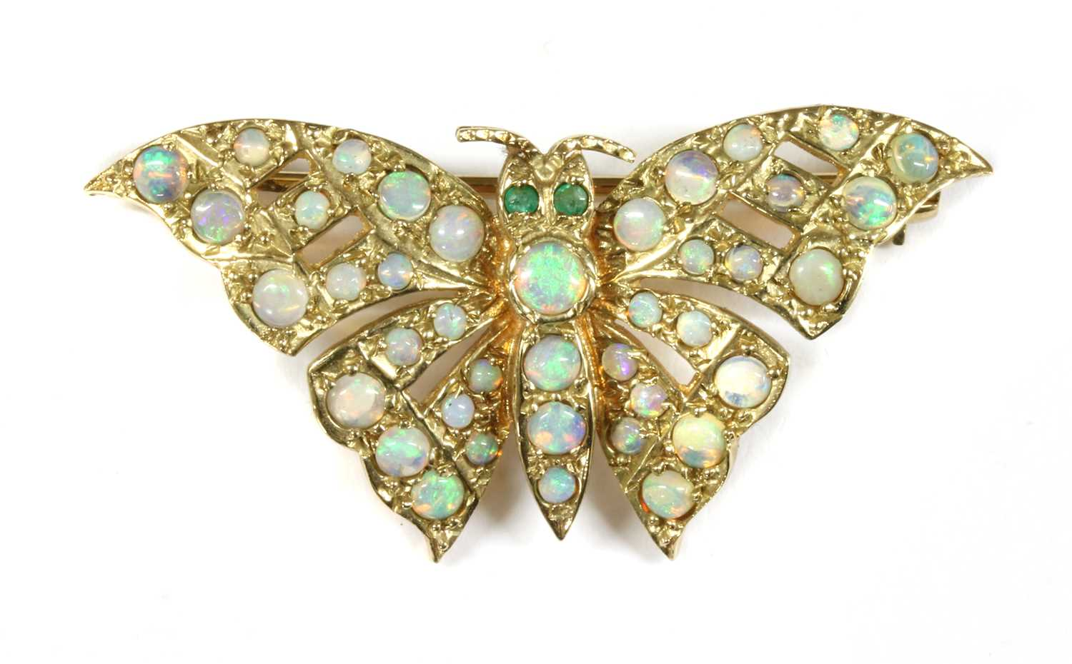 Lot 22 - A 9ct gold opal and emerald butterfly brooch
