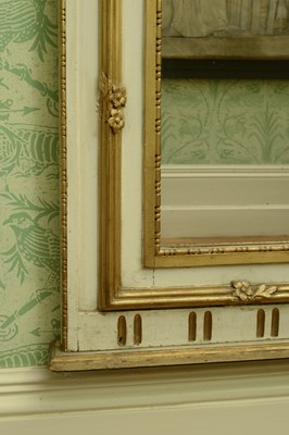 Lot 45 - A large cream and gilt trumeau wall mirror