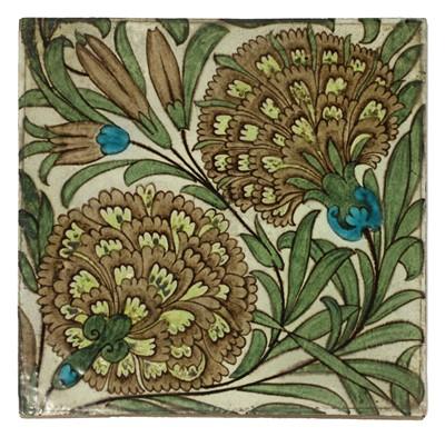 Lot 35 - A William De Morgan 'Persian Flowers' pattern tile