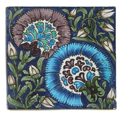 Lot 36 - A William De Morgan 'Chicago' pattern tile