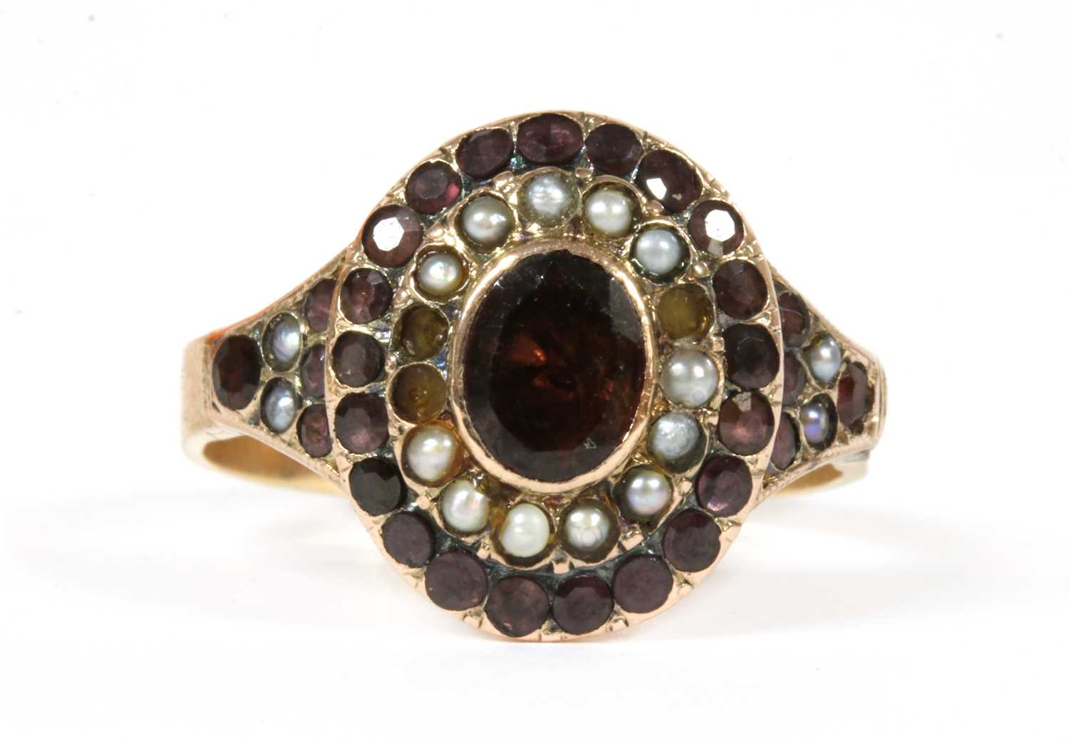 Lot 7-A Victorian gold garnet and split pearl cluster