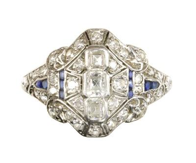 Lot 129 - An Art Deco diamond and synthetic sapphire plaque ring, c.1930