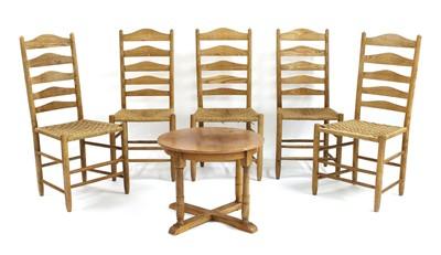 Lot 106 - Five ash ladderback chairs
