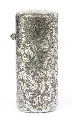 Lot 46 - A Victorian sterling silver cylindrical scent bottle, by Sampson Morden & Co
