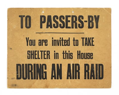 Lot 43-A RARE WORLD WAR 2 CARDBOARD LONDON AIR RAID SIGN
