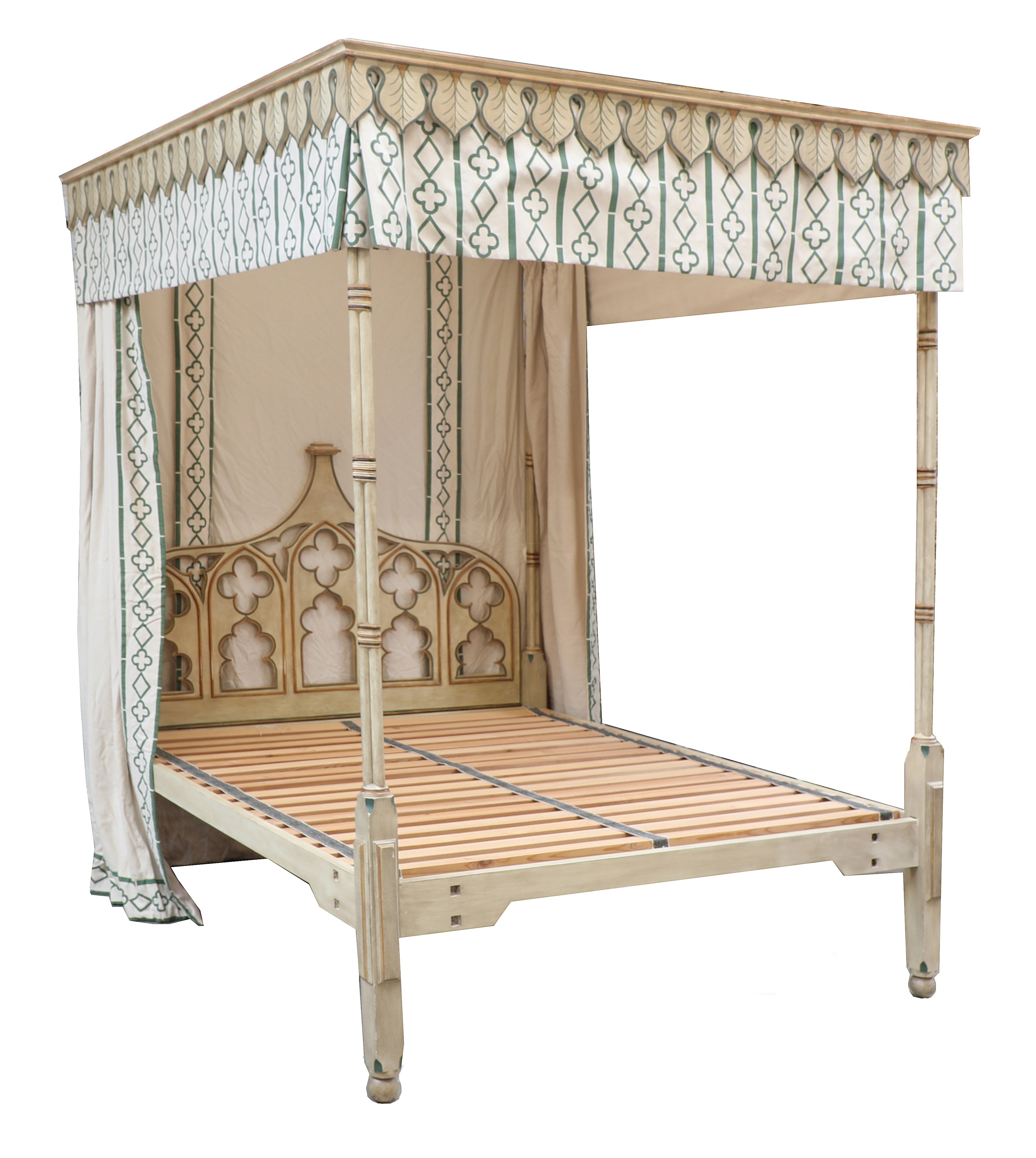 Lot 63 A Gothic Revival Painted Four Poster Bed
