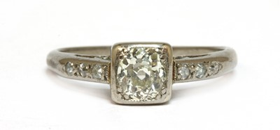 Lot 6 - A white gold single stone diamond ring