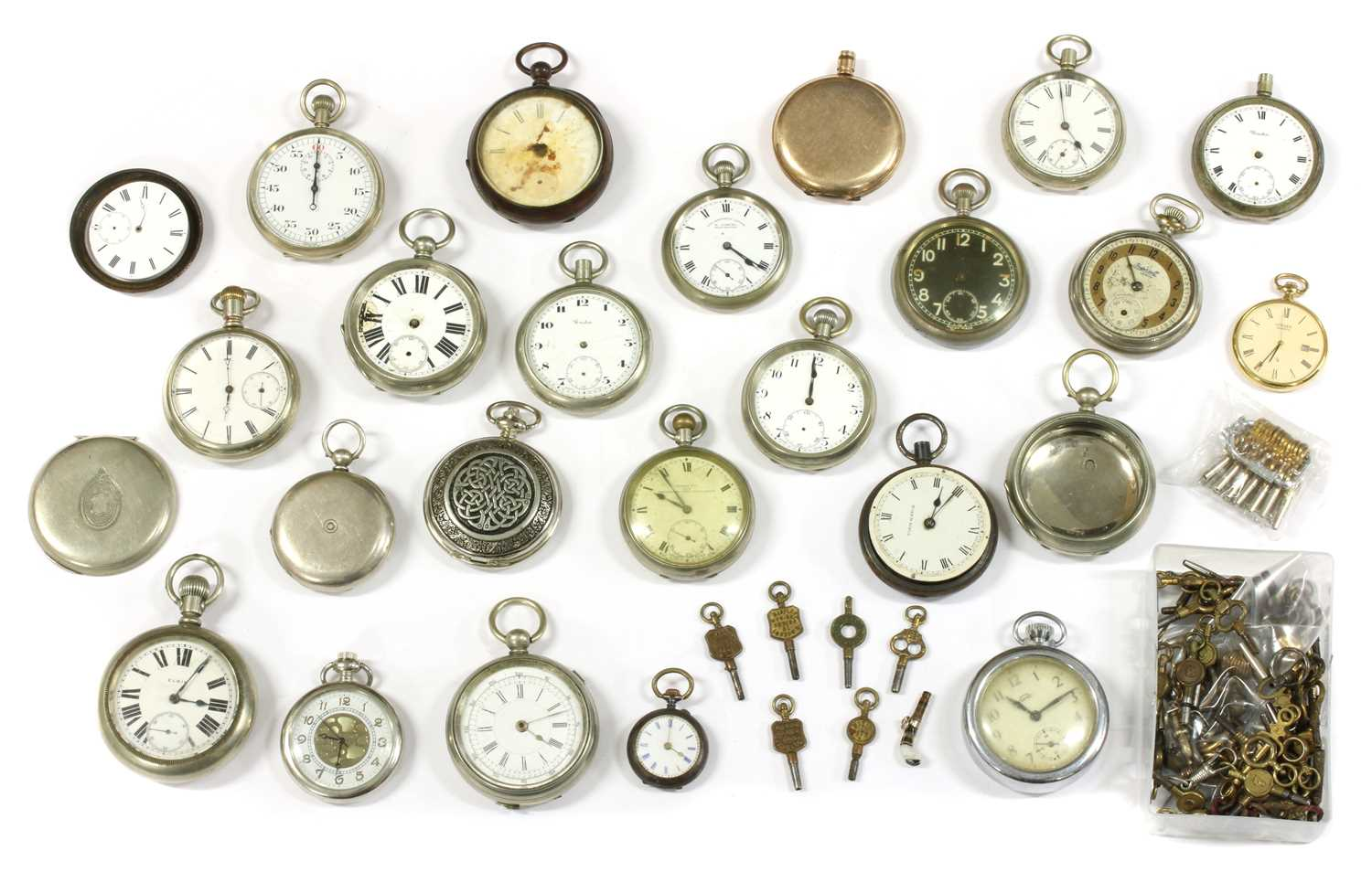 A quantity of pocket watches and cases,