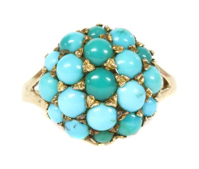 Lot 9-A 9ct gold turquoise bombé cluster