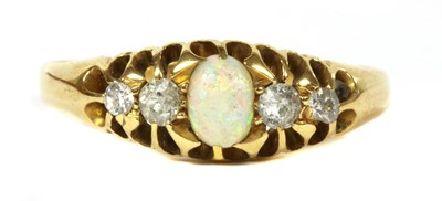 Lot 10-An 18ct gold five stone opal and diamond ring