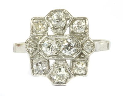Lot 4-An Art Deco diamond plaque ring