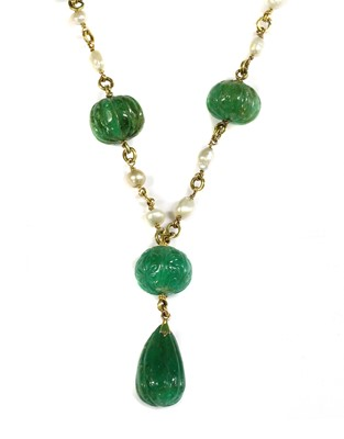 Lot 121 - A late Victorian carved emerald and pearl necklace