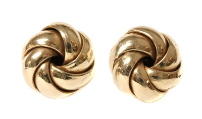 Lot 99 - A pair of 9ct gold knot earrings