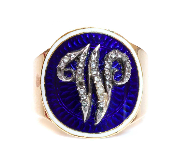 Lot 14 - A Georgian gold, enamel and diamond set memorial ring, c.1790