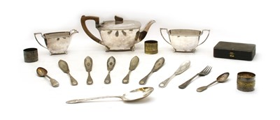 Lot 55 - An Art Deco silver plated three pieces teaset