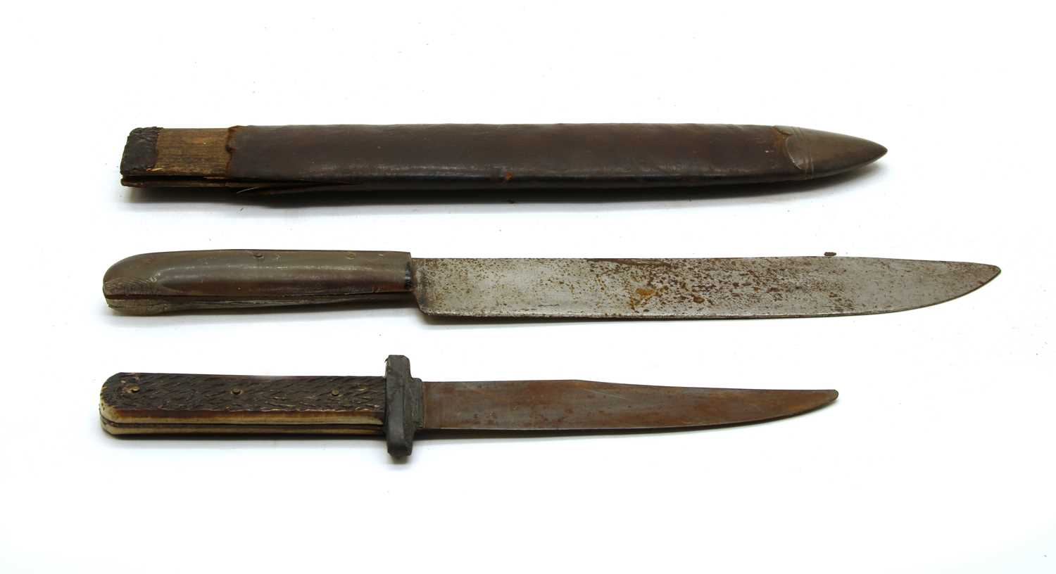 Lot 6 - A 19th Century horn handled frontiersman's knife