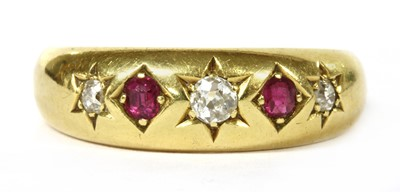 Lot 30-A Victorian 18ct gold diamond and ruby five stone ring