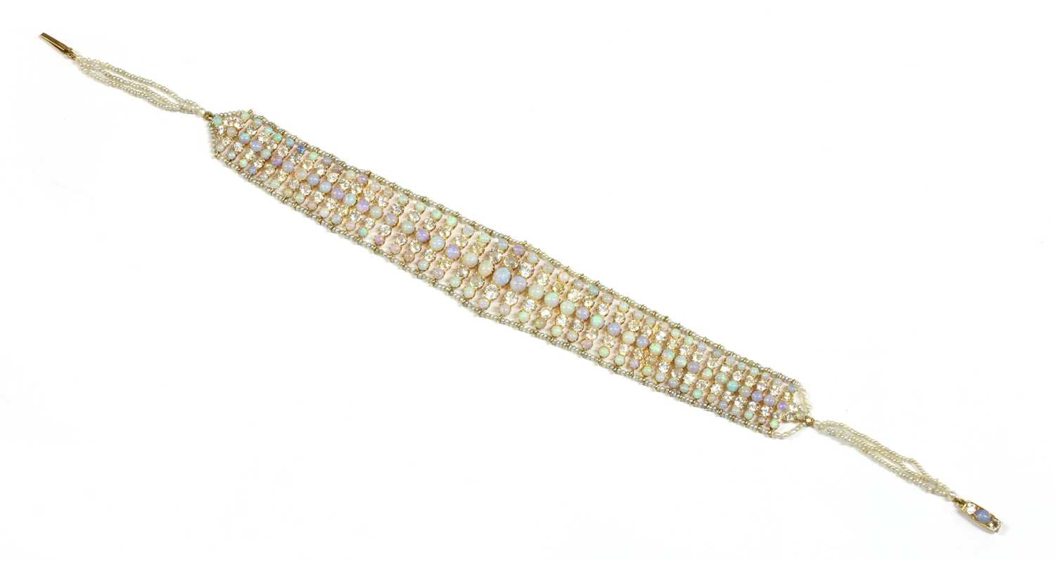Lot 14 - A Victorian opal, white sapphire and seed pearl choker