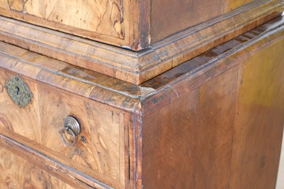 Lot A Queen Anne walnut cabinet on chest