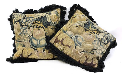 Lot 8 - A pair of verdure tapestry cushions