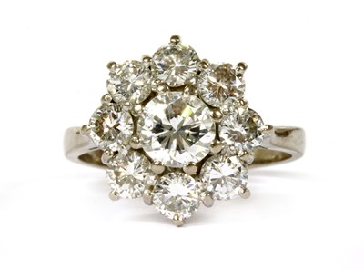 Lot 91 - A white gold diamond cluster ring
