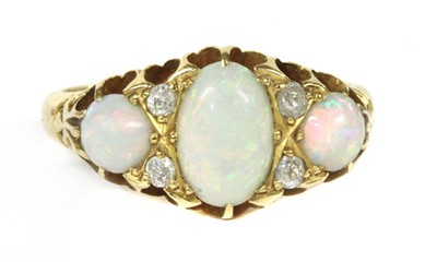 Lot 12-A Victorian 18ct gold opal and diamond ring